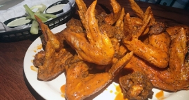 Buffalo wings at The Peanut. They are large and hot.
